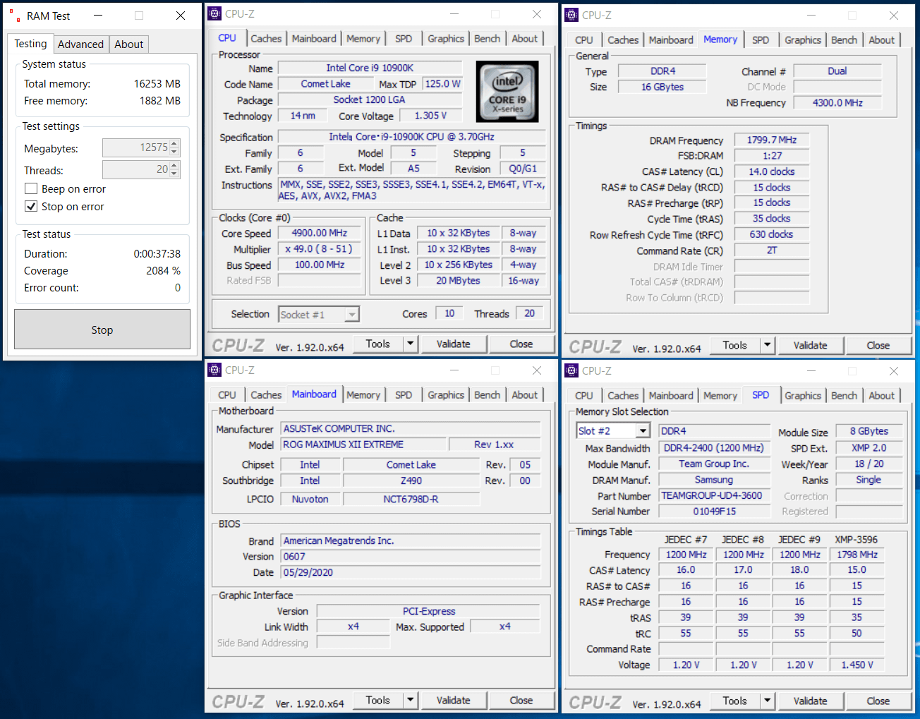 Team T-FORCE Xtreem ARGB DDR4 TF10D416G3600HC14CDC01_Z490_test