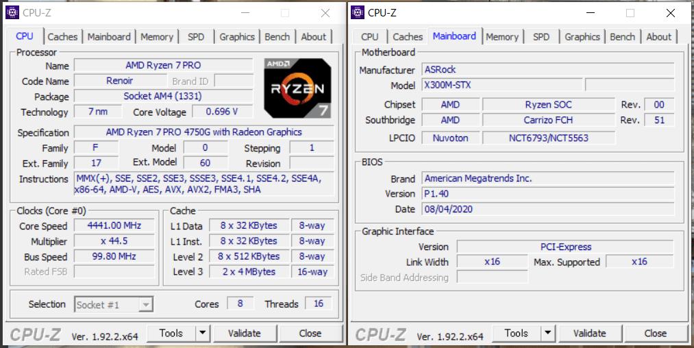 ASRock DeskMini X300_CPU-Z_Ryzen 7 PRO 4750G