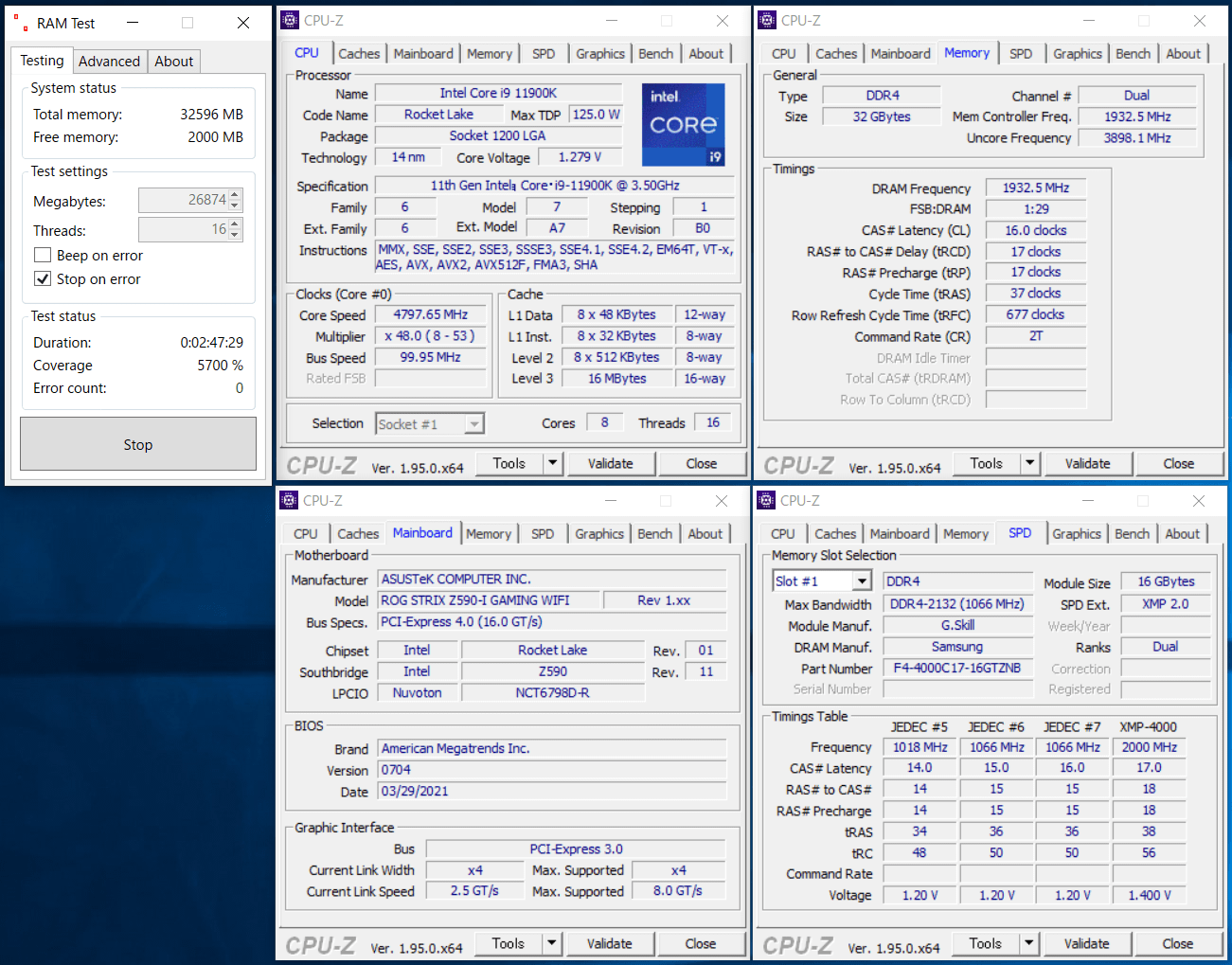 ASUS ROG STRIX Z590-I GAMING WIFI_11900K_memtest_3866_c16_g1