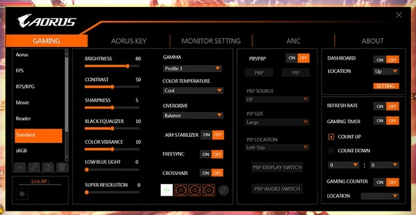 GIGABYTE AORUS FI27Q-P Gaming Monitor_software