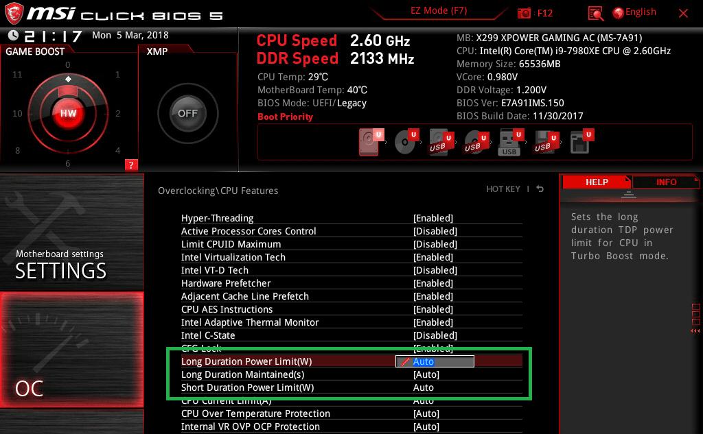MSI X299 XPOWER GAMING AC_BIOS_OC_12