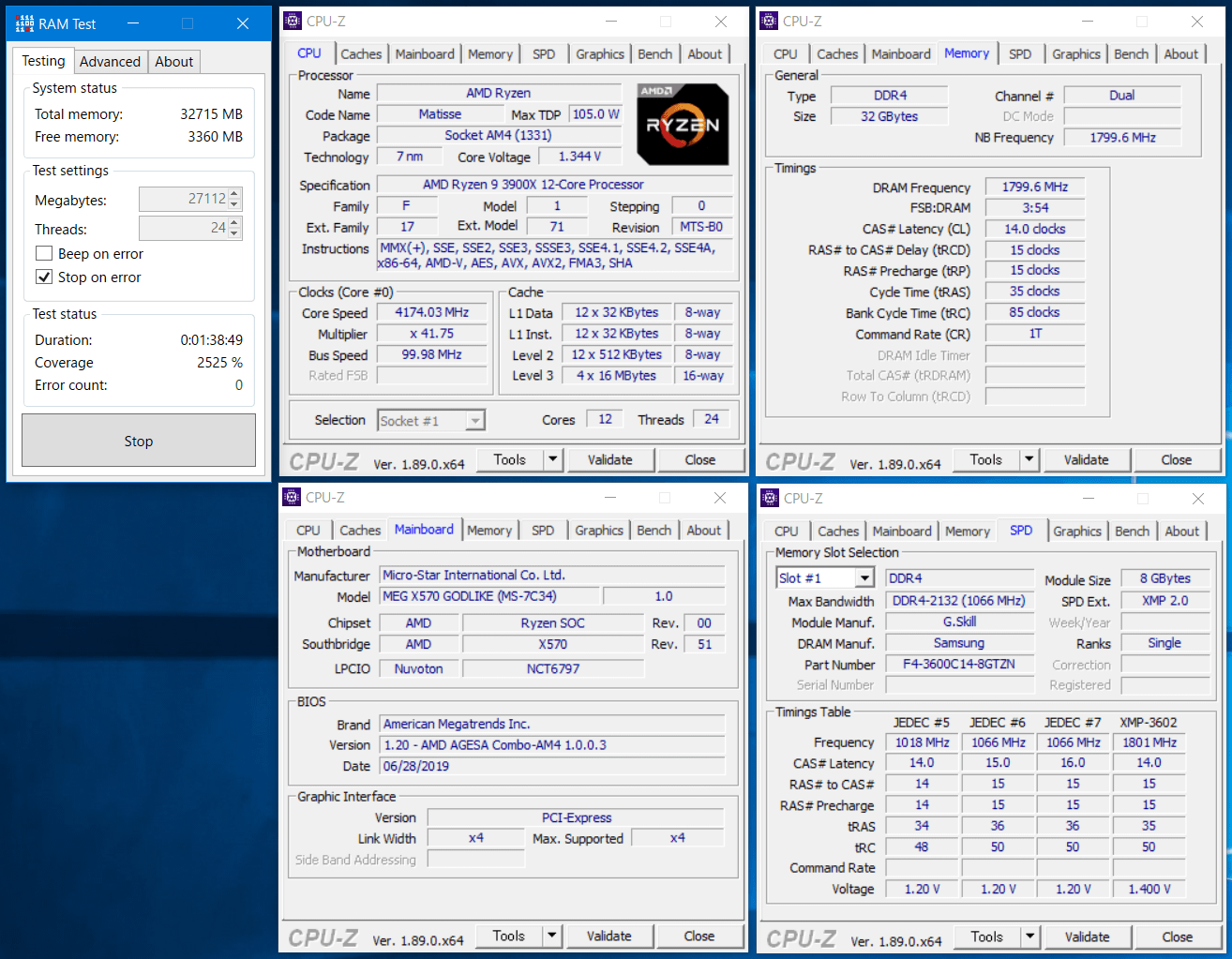 F4-3600C14Q-32GTZN_MSI MEG X570 GODLIK_RAM Test
