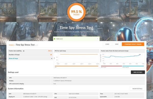 SAPPHIRE PULSE AMD Radeon RX 6600 XT_TimeSpy Stress Test