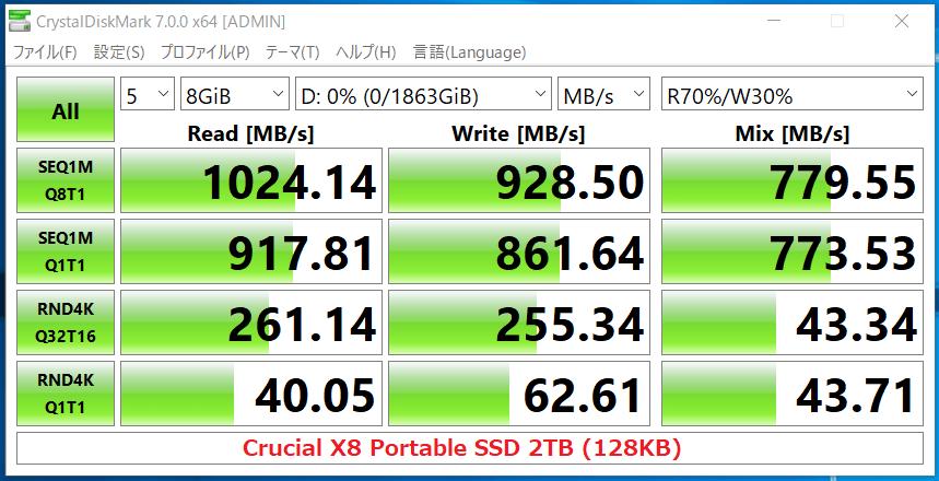 Crucial X8 Portable SSD 2TB(128KB)_CDM7
