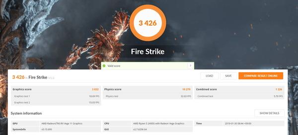ASRock DeskMini A300_Ryzen 5 2400G_FireStrike