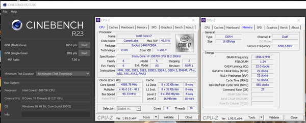 MSI GS66 Stealth_Core i7 10870H_CinebenchR23_Extreme