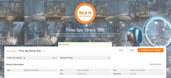 Radeon RX 5700 XT_TimeSpy Stress Test