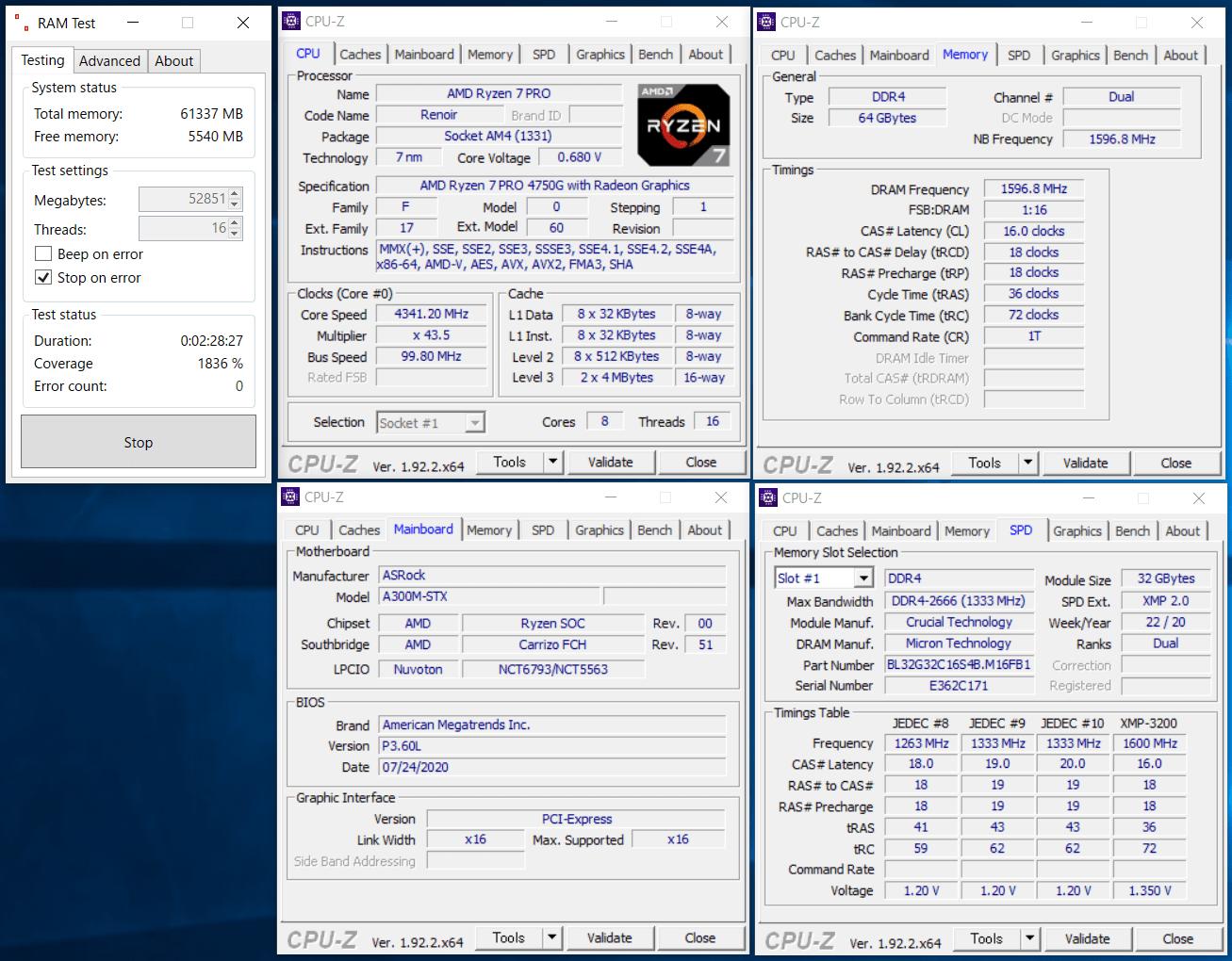 AMD Ryzen 7 PRO 4750G_Deskmini A300_ramtest_CB