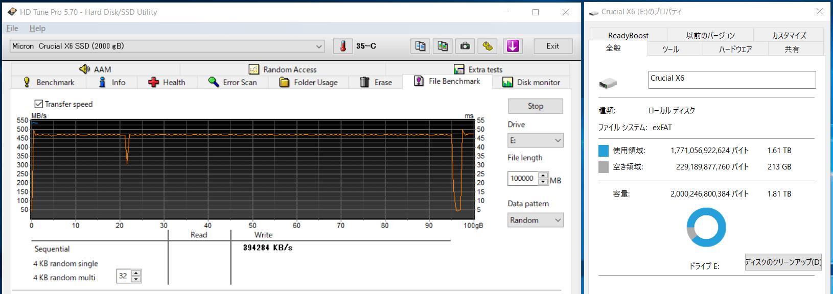 Crucial X6 Portable SSD 4TB_SLC-cache_300GB-Free