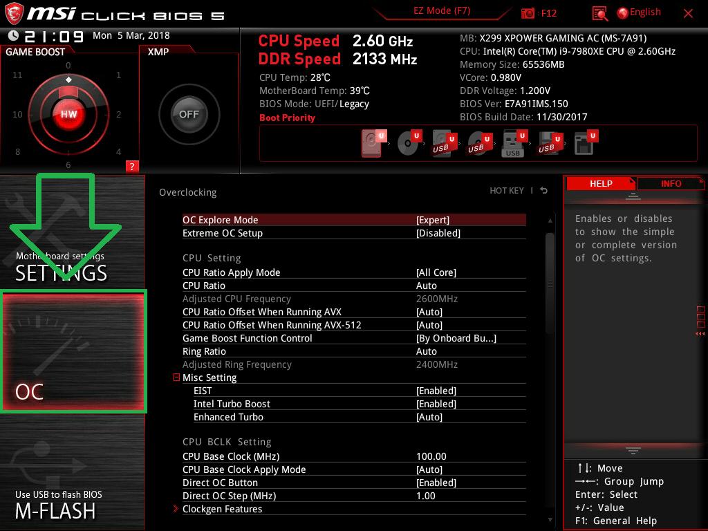 MSI X299 XPOWER GAMING AC_BIOS_OC_1