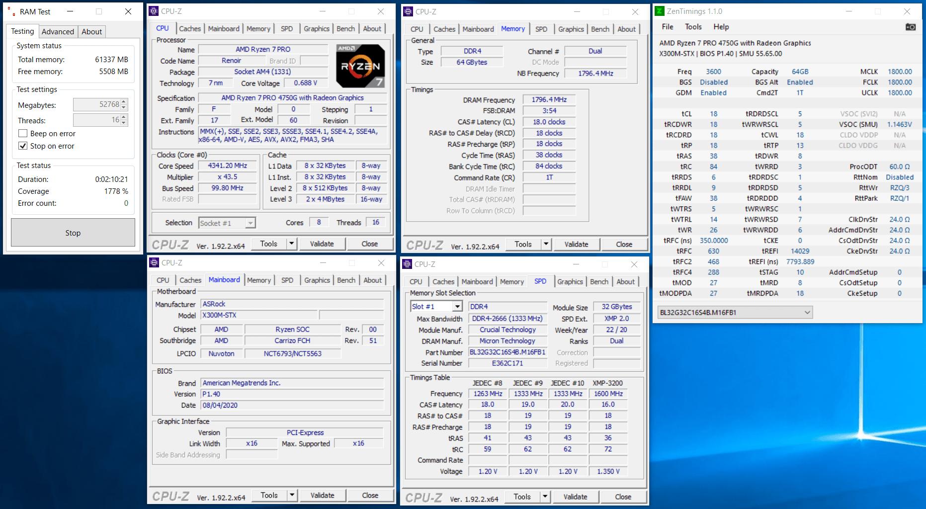 ASRock DeskMini X300_Ramtest_Ballistix BL2K32G32C16S4B