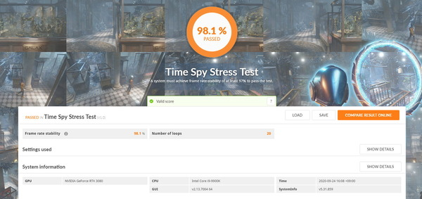 MSI GeForce RTX 3080 GAMING X TRIO 10G_TimeSpy Stress Test