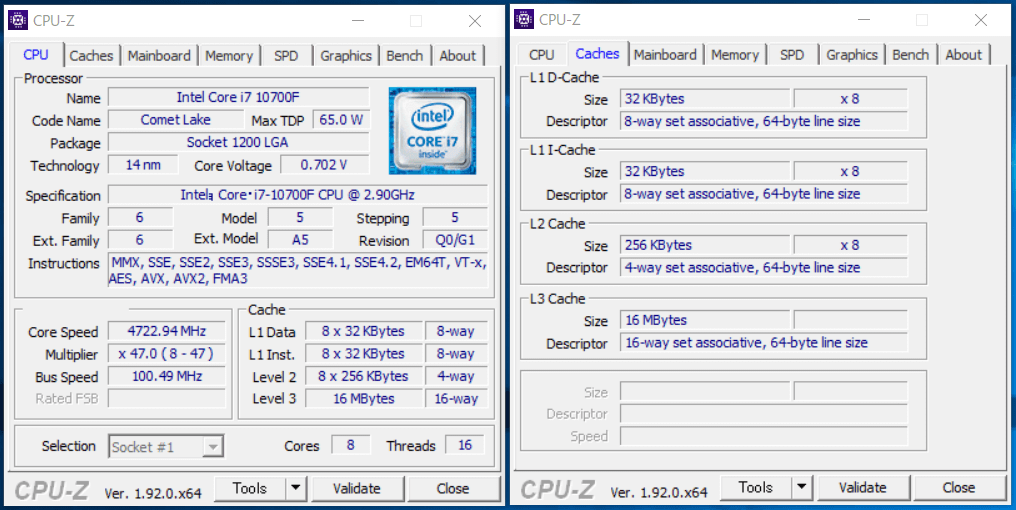 Intel Core i7 10700F_CPU-Z