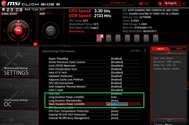 MSI X299 GAMING PRO CARBON AC_BIOS_OC_11