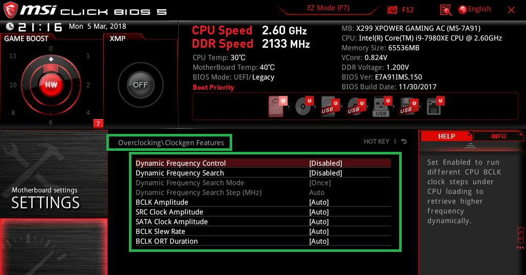MSI X299 XPOWER GAMING AC_BIOS_OC_11