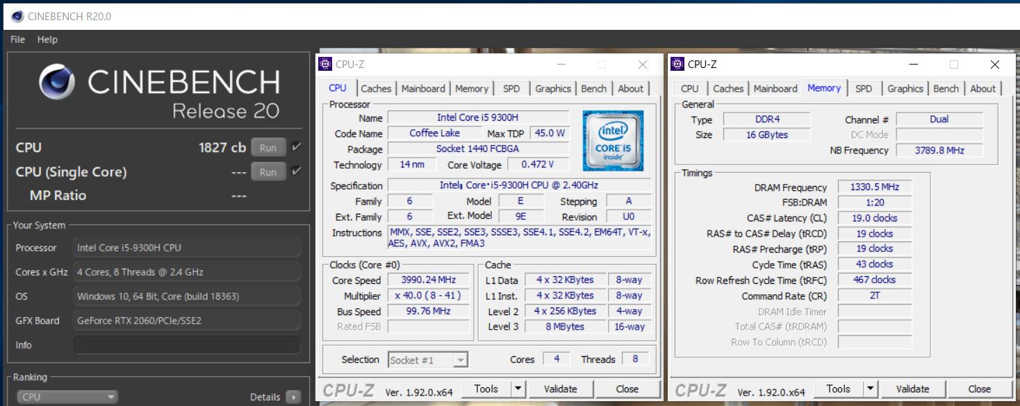 ZOTAC ZBOX Eシリーズ EN52060V_Core i5 9300H_cinebench-R20