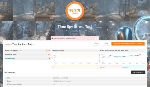ZOTAC GAMING GeForce RTX 3070 Ti AMP Holo_TimeSpy Stress Test