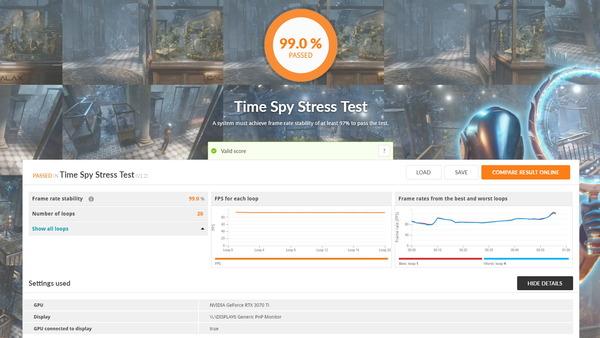 Palit GeForce RTX 3070 Ti GamingPro_TimeSpy Stress Test
