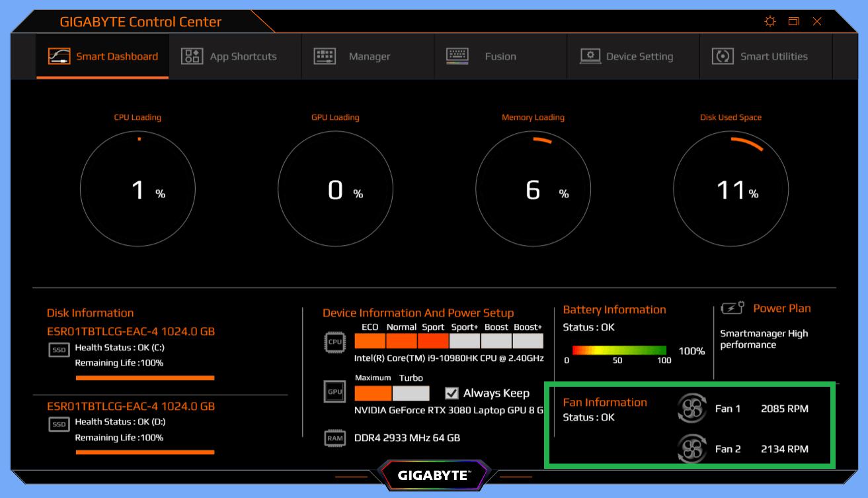 GIGABYTE AERO 15 OLED_Fan_idle