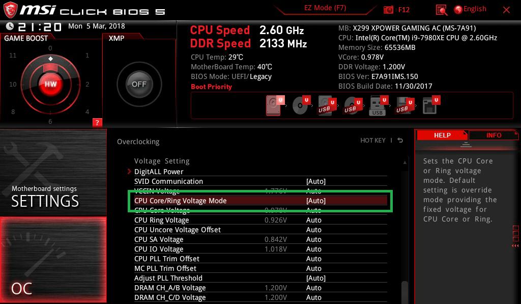MSI X299 XPOWER GAMING AC_BIOS_OC_16a