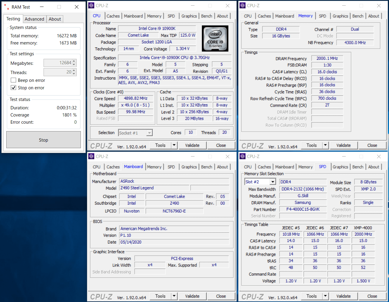 ASRock Z490 Steel Legend_Mem-OC_8x2_4000MHz_CL16