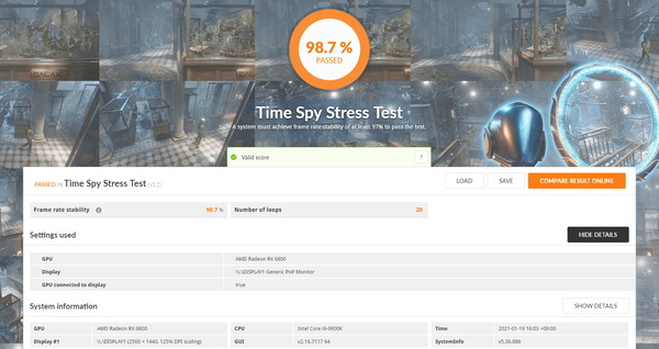 SAPPHIRE PULSE Radeon RX 6800 OC_TimeSpy Stress Test