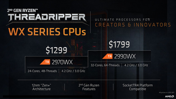 AMD Ryzen Threadripper 2Gen WX Series