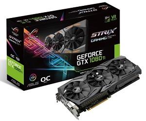 ASUS ROG-STRIX-GTX1080TI-O11G-GAMING オリジナルクーラー搭載 GeForce GTX 1080 Tiグラフィックスカード