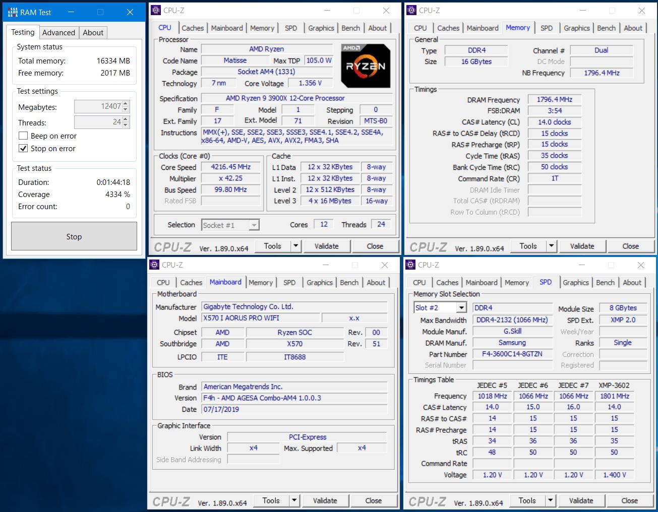 F4-3600C14Q-32GTZN_GIGABYTE X570 I AORUS PRO WIFI_RAM Test