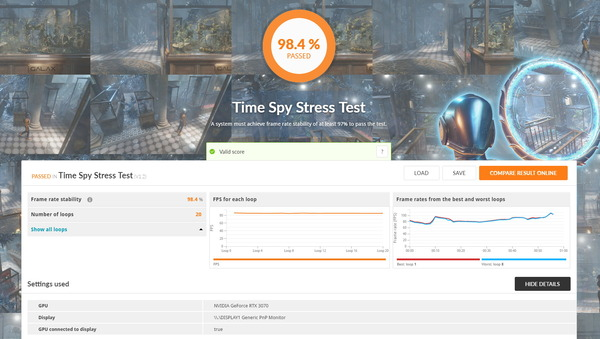 ELSA GeForce RTX 3070 S.A.C_TimeSpy Stress Test