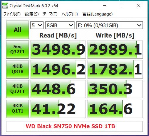 WD Black SN750 NVMe SSD 1TB_CDM