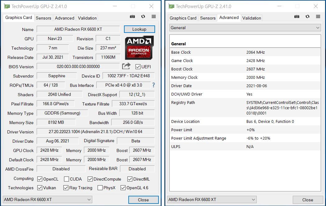 SAPPHIRE NITRO+ AMD Radeon RX 6600 XT GAMING OC_Perf_GPU-Z