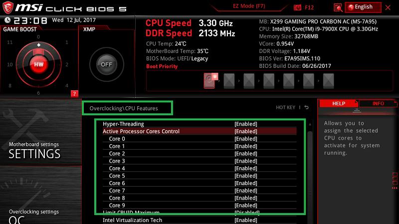 MSI X299 GAMING PRO CARBON AC_BIOS_OC_10