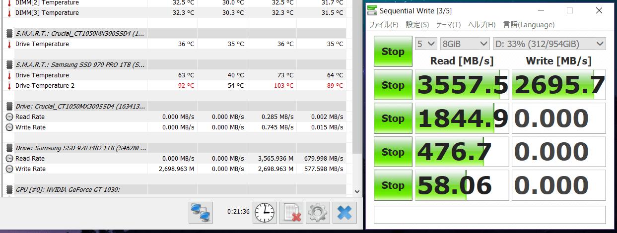 Samsung 970 PRO 1TB_temp test