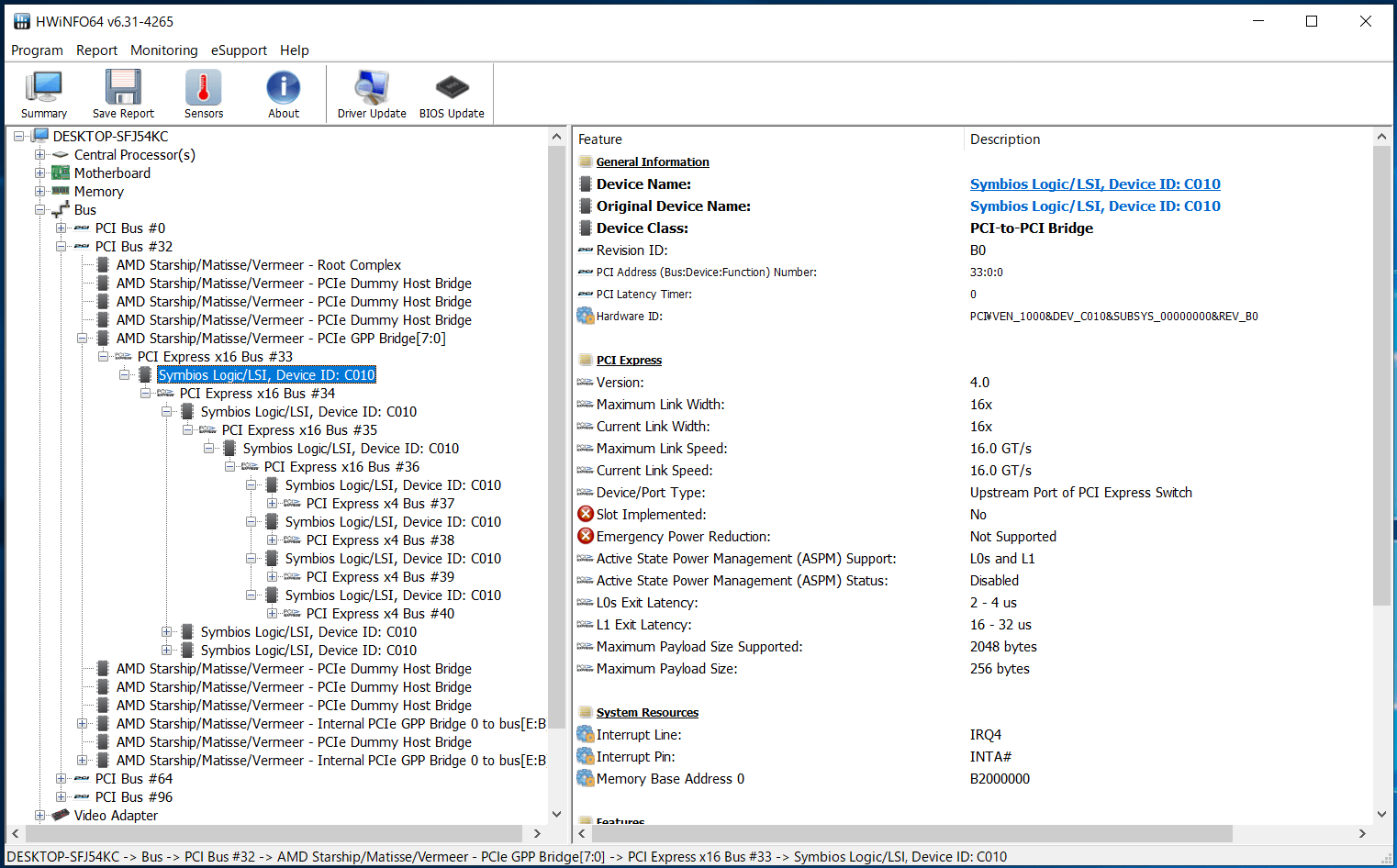 HighPoint SSD7505_HWiNFO