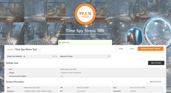 Sycom GeForce RTX 3080 AIO Water_TimeSpy Stress Test