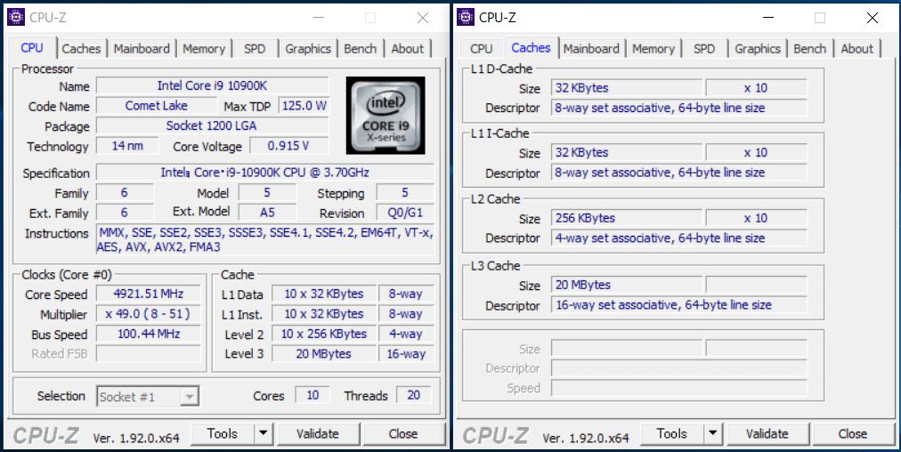 Intel Core i9 10900K_CPU-Z