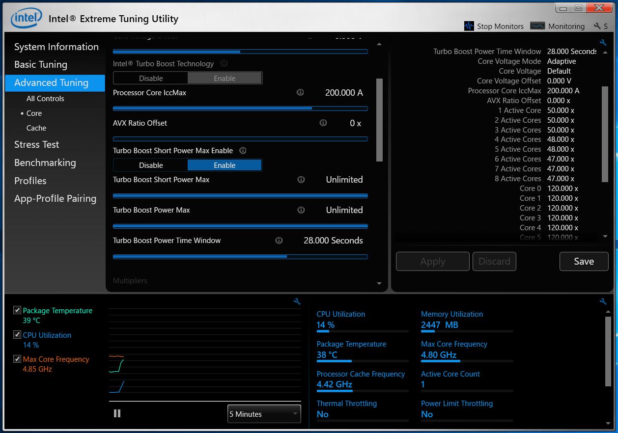 ASUS WS Z390 PRO_Core i9 9900K_XTU_Auto