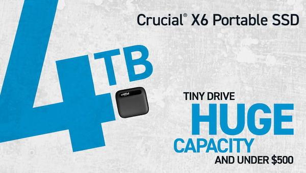 Crucial X6 Portable SSD 4TB_top