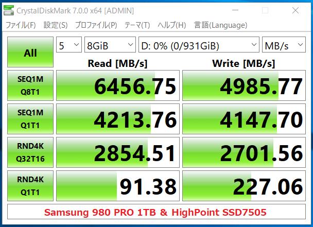 HighPoint SSD7505_Samsung 980 PRO 1TB_x1_CDM7