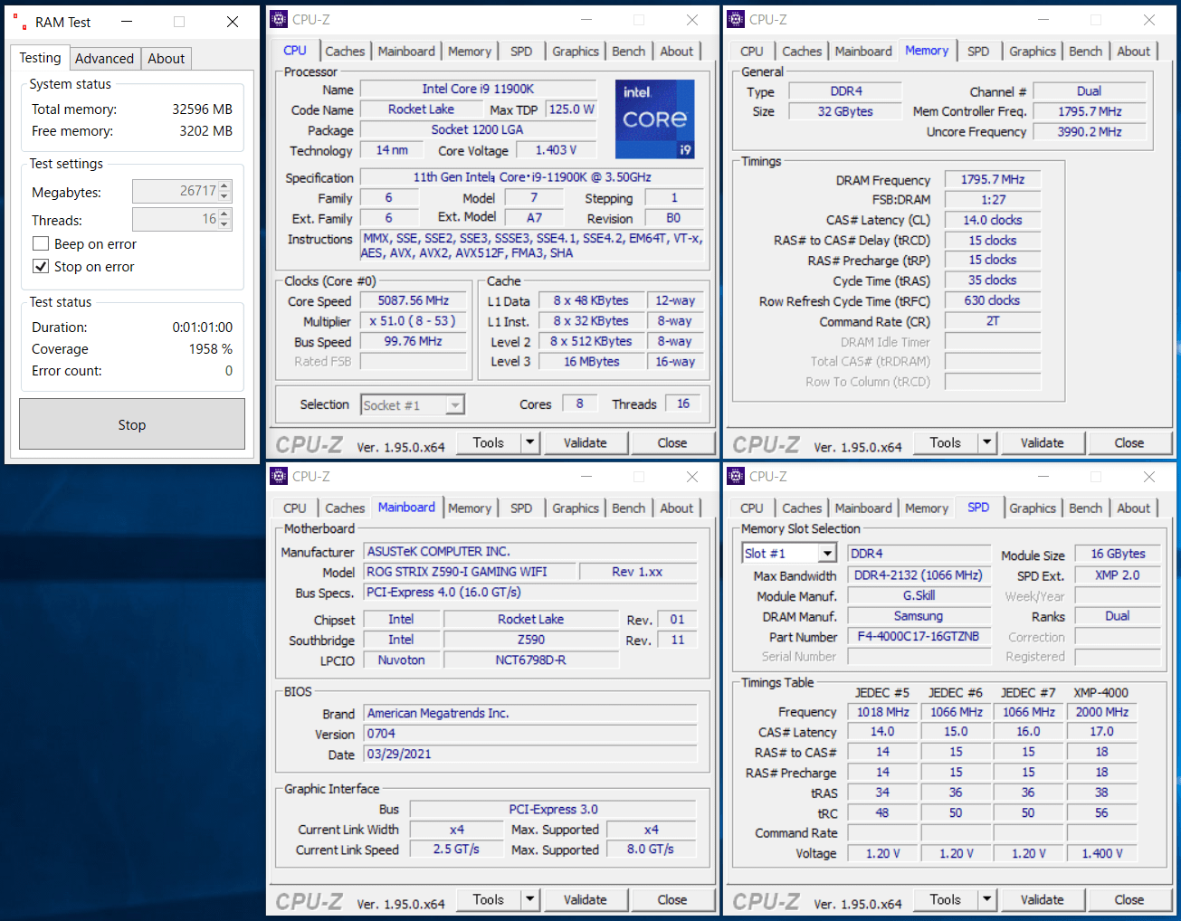 ASUS ROG STRIX Z590-I GAMING WIFI_11900K_memtest_3600_c14_g1