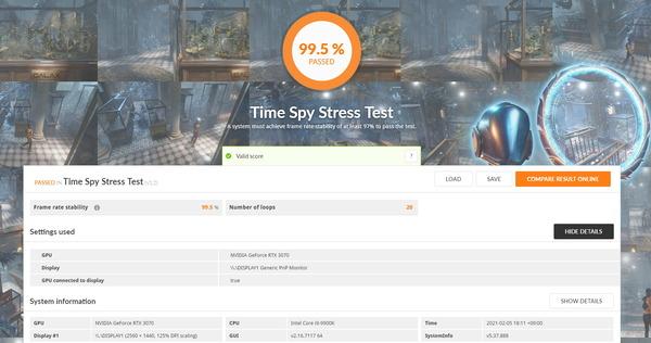 MSI GeForce RTX 3070 GAMING X TRIO_TimeSpy Stress Test