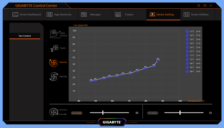 GIGABYTE AERO 15 OLED_Fan-Setting