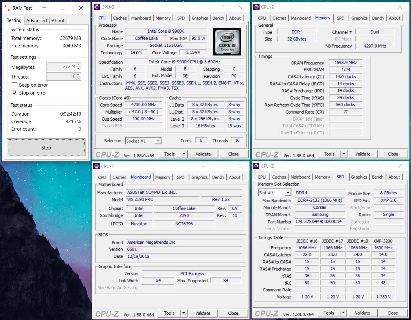 CMT32GX4M4C3200C14_OC_Core i9 9900K_Z390