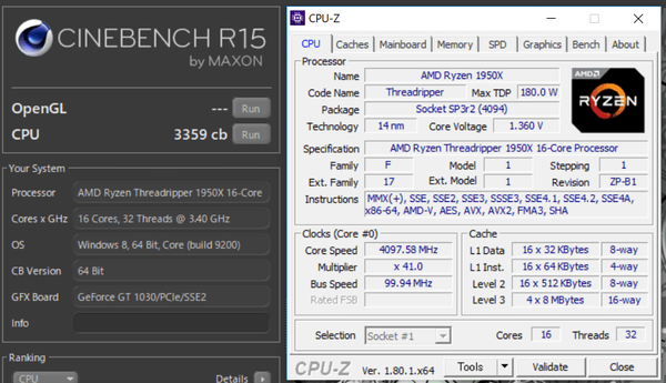 AMD Ryzen Threadripper 1950X 4,1GHz cinebench