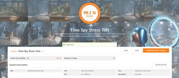 ZOTAC ZBOX Eシリーズ EN52060V_3DMark TimeSpy Stress Test
