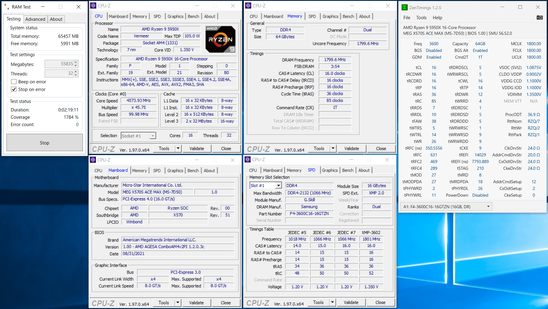 MSI MEG X570S ACE MAX_5950X_3600MHz_C16_ramtest