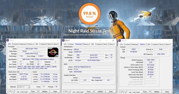 ASRock DeskMini X300_GPU-Stress_Ballistix BL2K32G32C16S4B