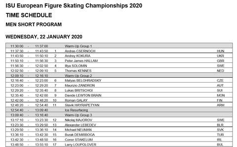 2020 欧州選手権 SP タイムスケジュール
