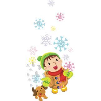 冬景色犬と子供MB900446358